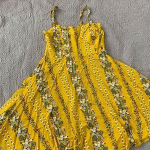 Women's mustard yellow floral dress